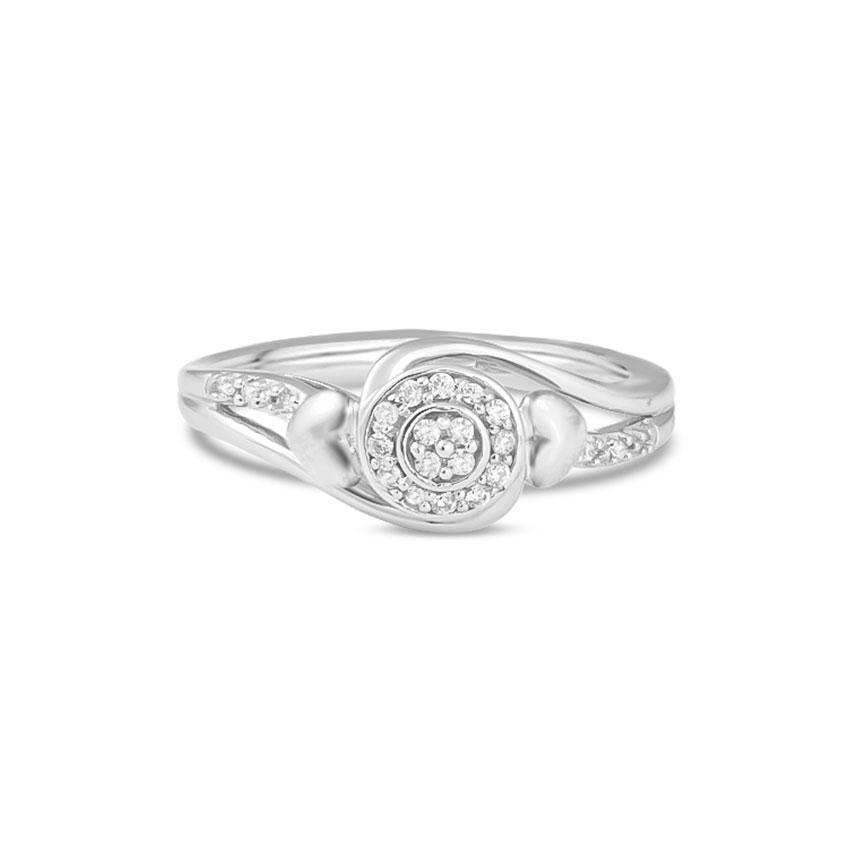 Diamond Rings 14 Karat White Gold Twin Heart Diamond Ring