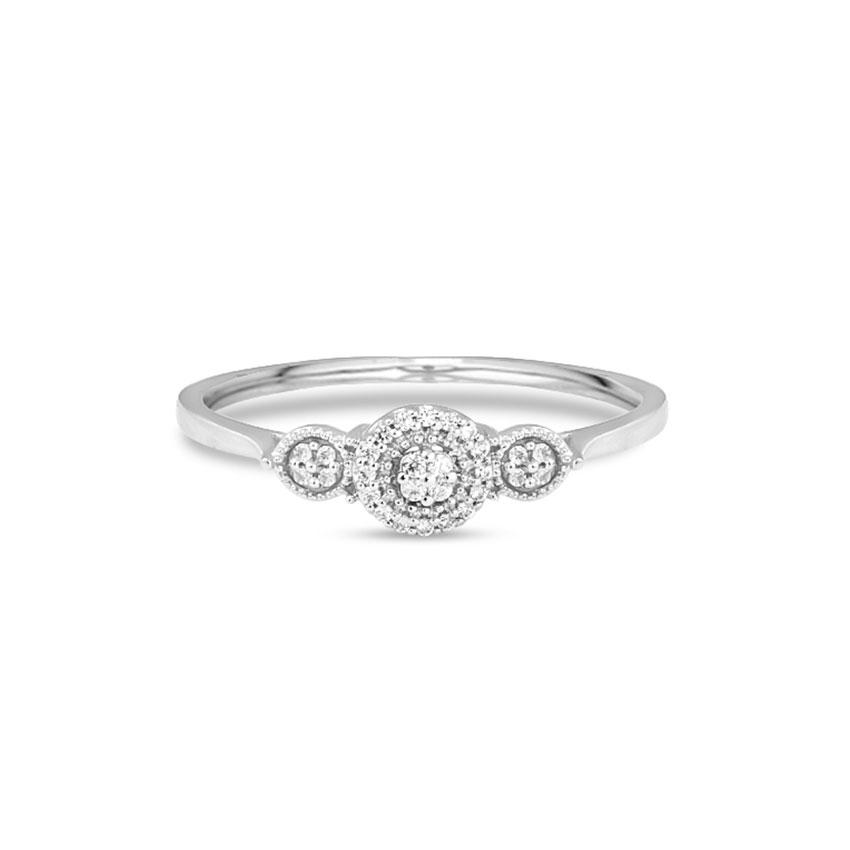 Diamond Rings 14 Karat White Gold Trio Halo Diamond Ring
