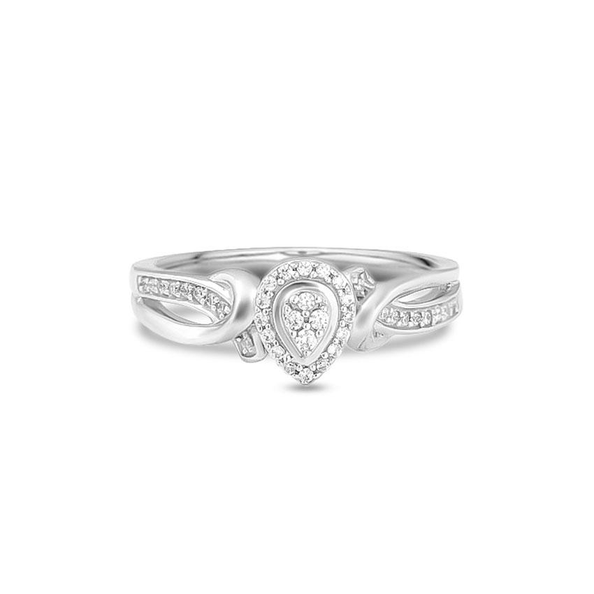Diamond Rings 14 Karat White Gold Twine Drop Diamond Ring