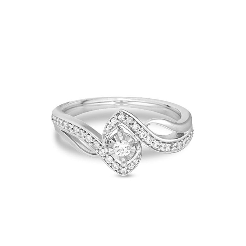 Diamond Rings 14 Karat White Gold Elenka Windy Diamond Ring