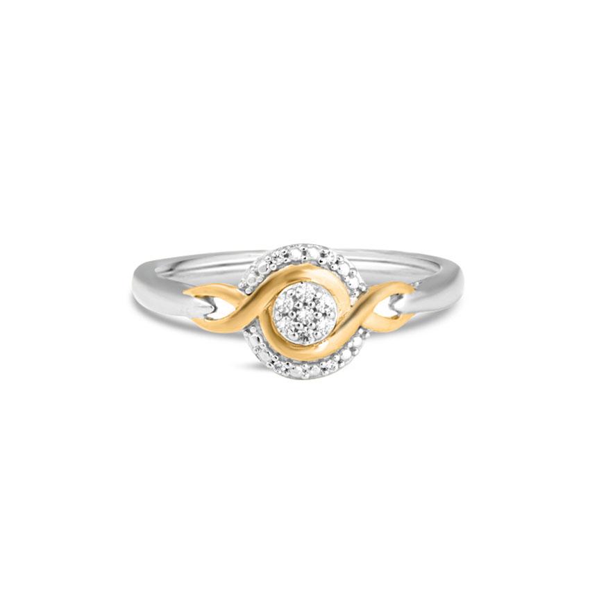 Diamond Rings 14 Karat Two Tone Gold Helena Curvy Diamond Ring