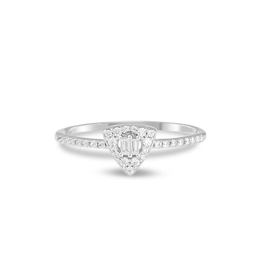 Diamond Rings 14 Karat White Gold Trillion Shimmer Diamond Ring
