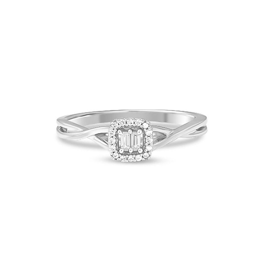 Diamond Rings 14 Karat White Gold Glowing Quad Diamond Ring