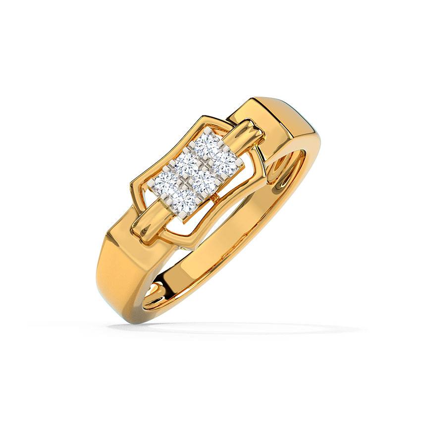 Diamond Rings 14 Karat Yellow Gold Duke Diamond Ring for Men