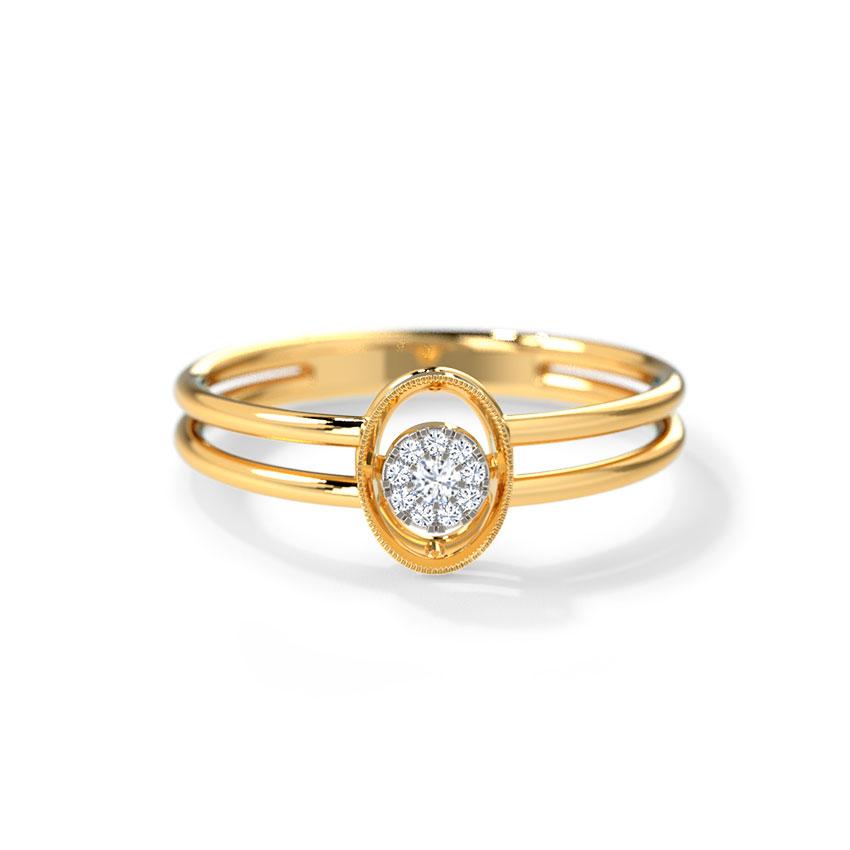 Diamond Rings 14 Karat Yellow Gold Pleasing Oval Ring