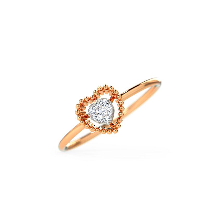 Diamond Rings 14 Karat Rose Gold Adorable Heart Ring