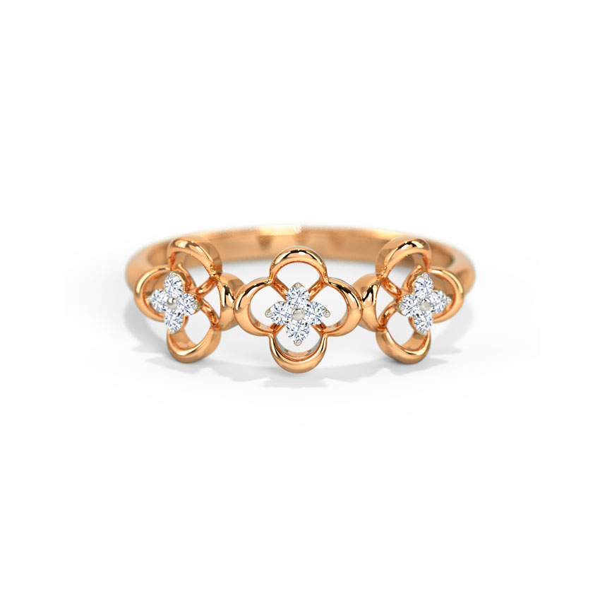 Diamond Rings 14 Karat Rose Gold Trio Floral Diamond Band
