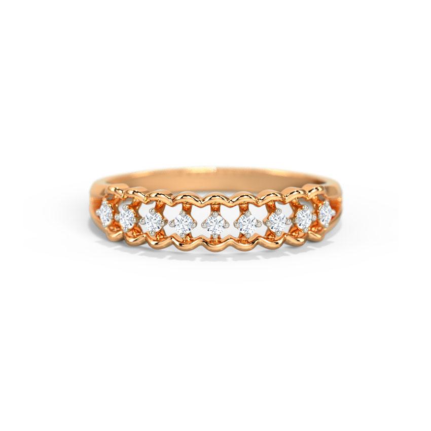 Diamond Rings 14 Karat Rose Gold Glamorous Diamond Band