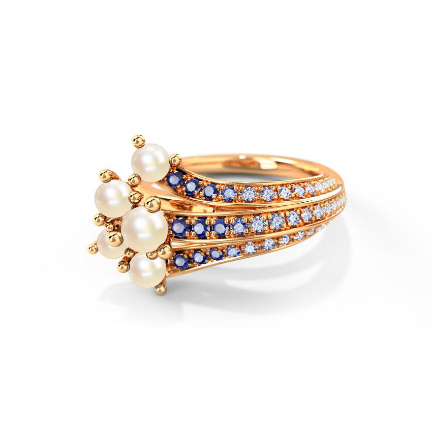 Diamond,Gemstone Rings 14 Karat Rose Gold Ganora Wave Gemstone Ring