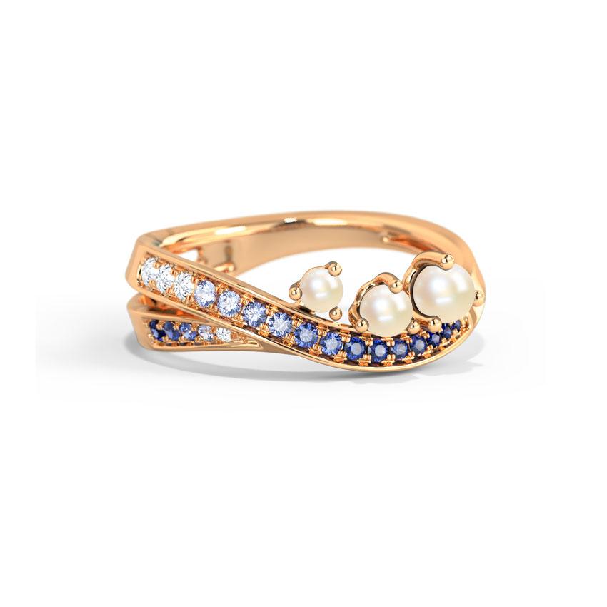 Diamond,Gemstone Rings 14 Karat Rose Gold Vanora Wave Gemstone Ring