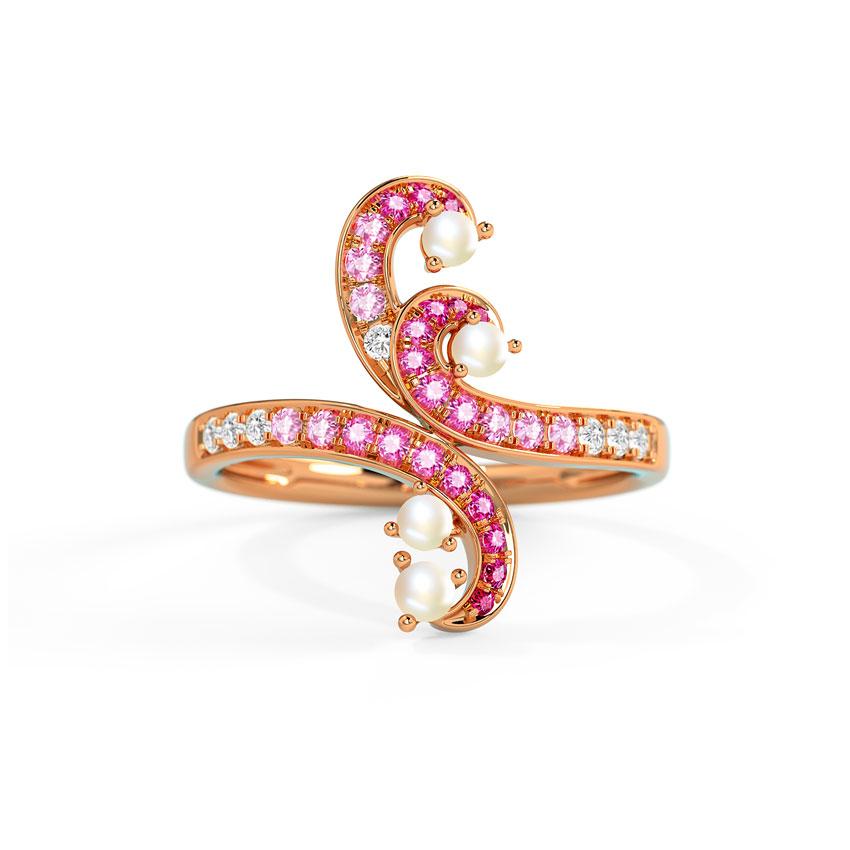 Diamond,Gemstone Rings 14 Karat Rose Gold Morgana Swirl Gemstone Ring
