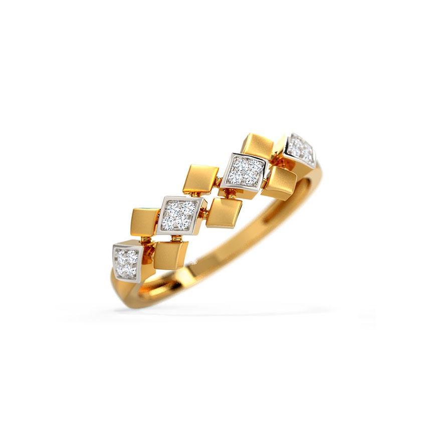 Diamond Rings 14 Karat Yellow Gold Fancy Diamond Band
