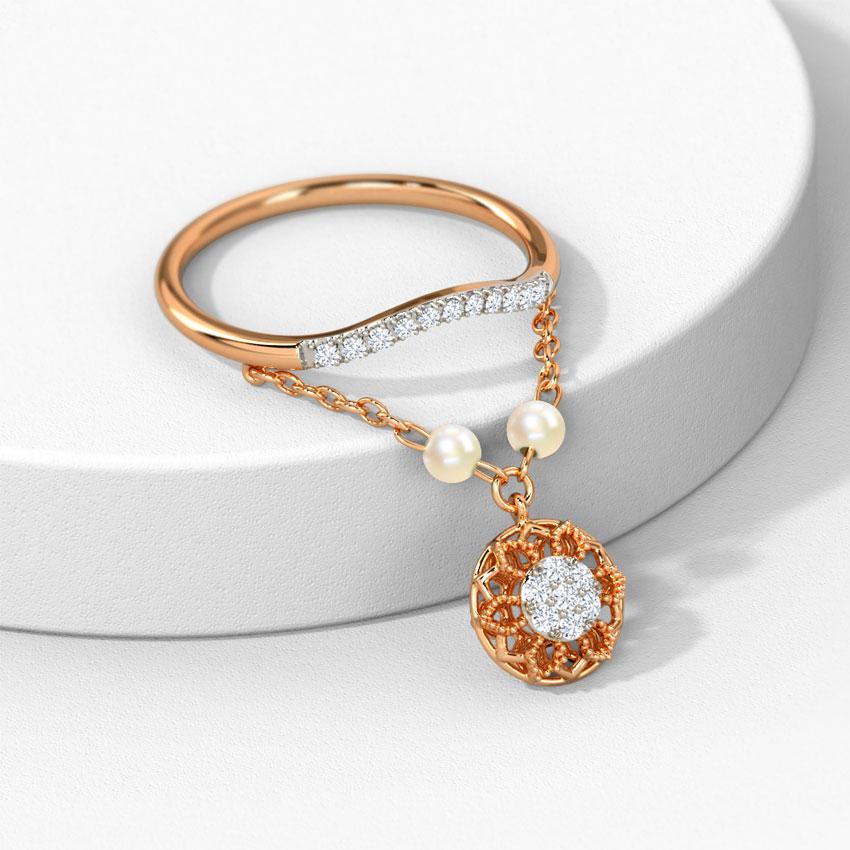 Diamond,Gemstone Rings 14 Karat Rose Gold Labrina Dangling Gemstone Ring