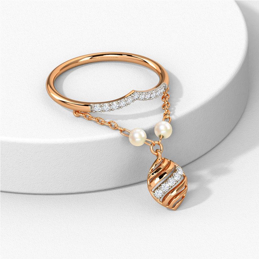 Diamond,Gemstone Rings 14 Karat Rose Gold Arlena Dangling Gemstone Ring