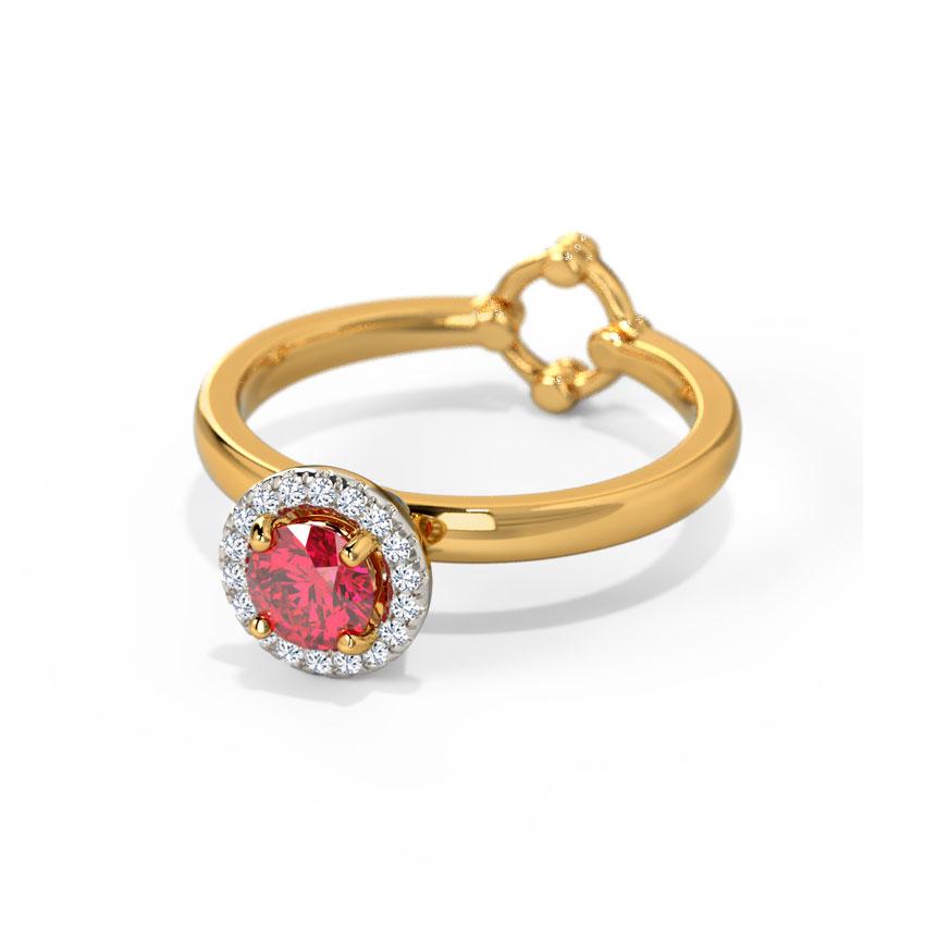 Diamond,Gemstone Rings 18 Karat Yellow Gold Adjustable Ring by Sanskriti