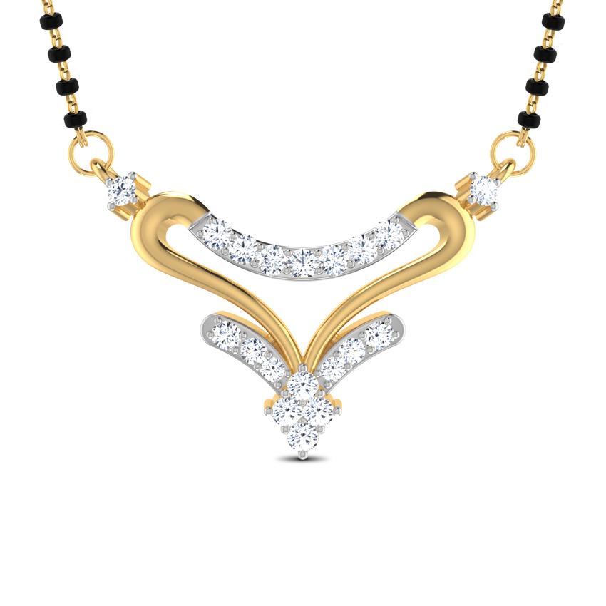 Diamond Mangalsutra 18 Karat Yellow Gold Kamalam Diamond Mangalsutra
