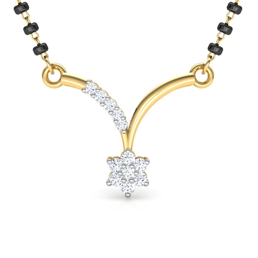 Diamond Mangalsutra 18 Karat Yellow Gold Mahima Diamond Mangalsutra