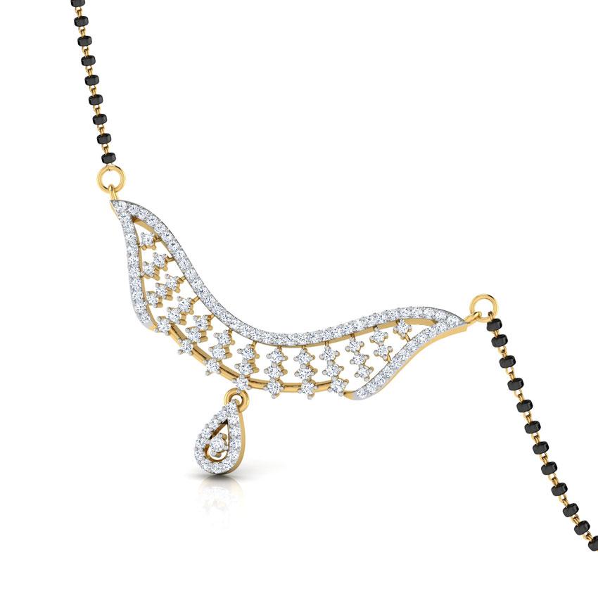 Diamond Mangalsutra 18 Karat Yellow Gold Vela Diamond Mangalsutra
