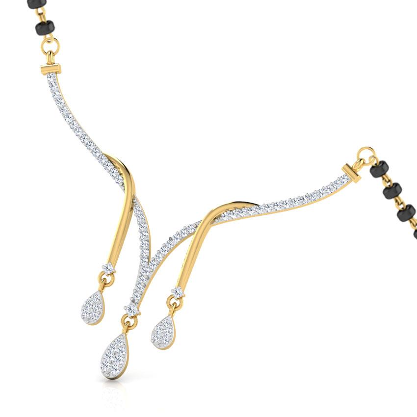 Diamond Mangalsutra 18 Karat Yellow Gold Anu Diamond Mangalsutra