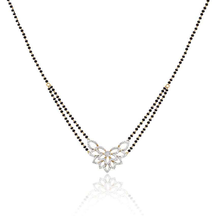 Diamond Mangalsutra 18 Karat Yellow Gold Pihu Diamond Mangalsutra