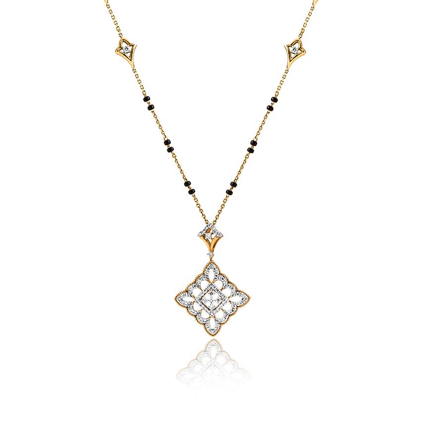Diamond Mangalsutra 18 Karat Yellow Gold Jina Diamond Mangalsutra