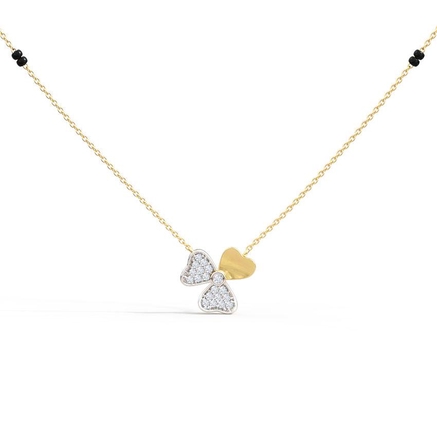 Diamond Mangalsutra 14 Karat Yellow Gold Heer Diamond Mangalsutra