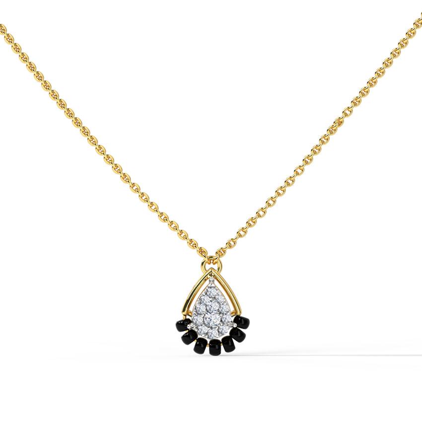Diamond Mangalsutra 14 Karat Yellow Gold Shyra Diamond Mangalsutra