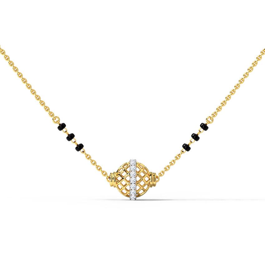 Diamond Mangalsutra 14 Karat Yellow Gold Raisha Diamond Mangalsutra