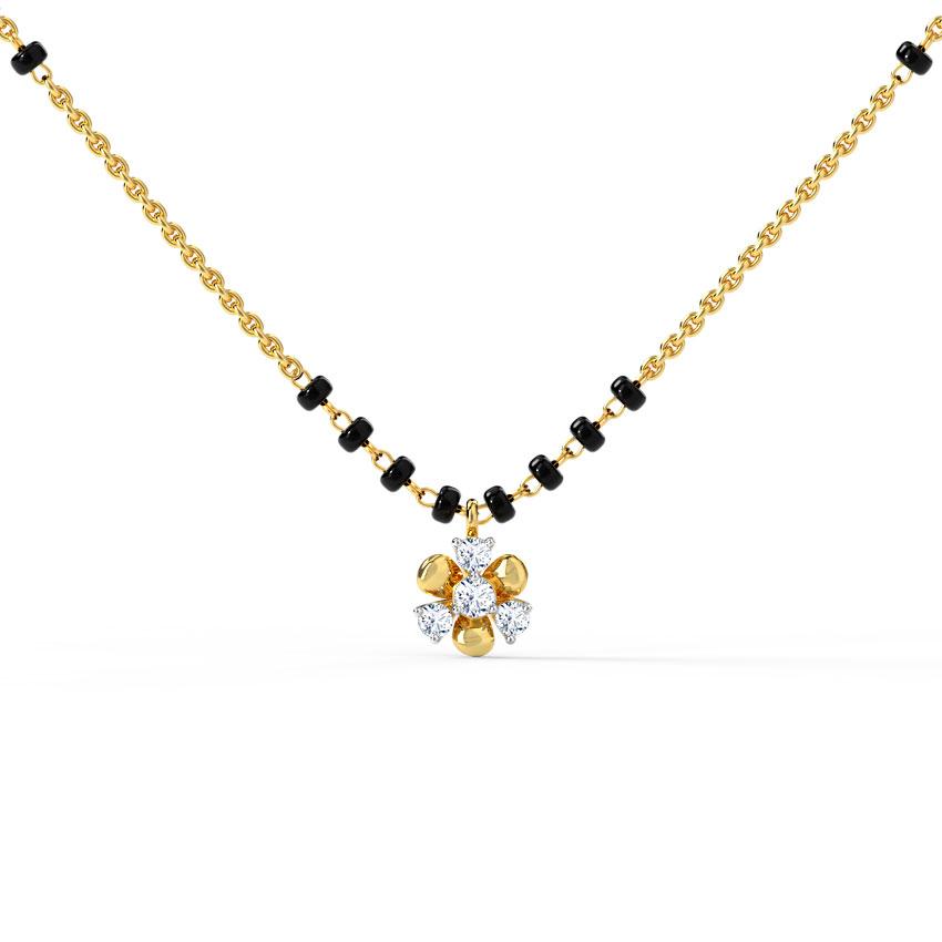 Diamond Mangalsutra 14 Karat Yellow Gold Archa Diamond Mangalsutra