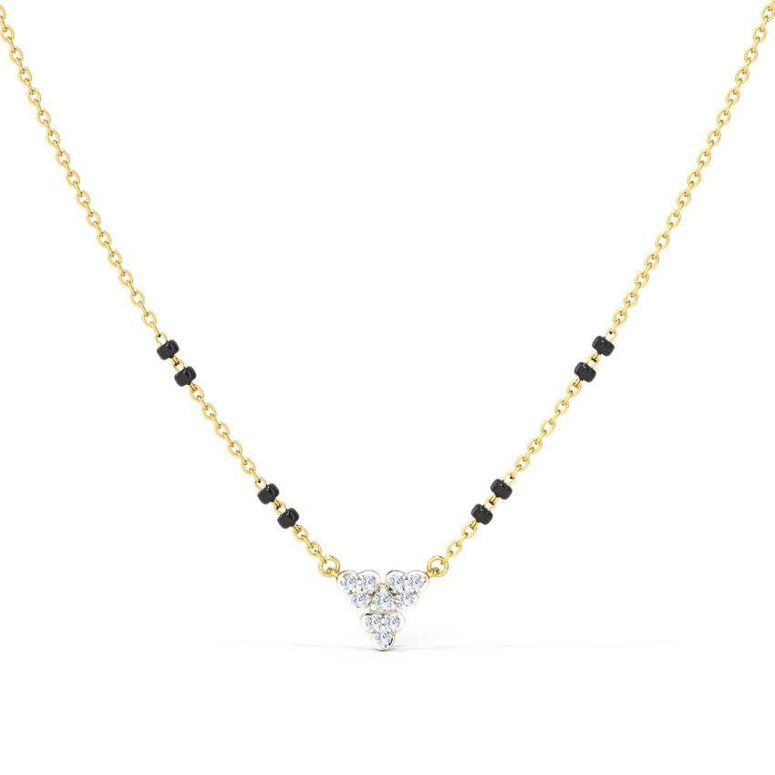Diamond Mangalsutra 14 Karat Yellow Gold Diti Diamond Mangalsutra