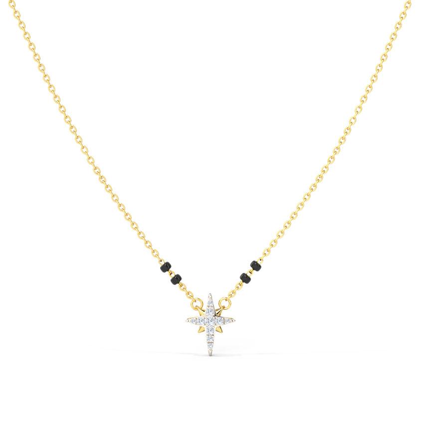 Diamond Mangalsutra 14 Karat Yellow Gold Ayesha Diamond Mangalsutra