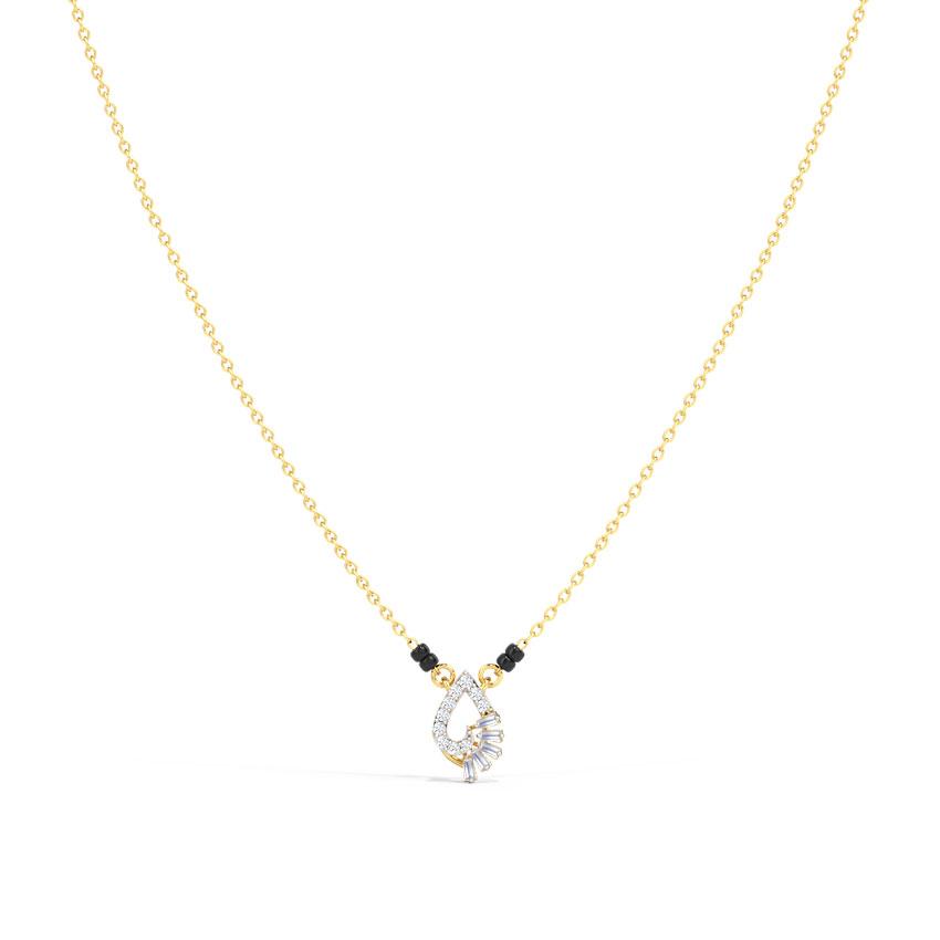 Diamond Mangalsutra 14 Karat Yellow Gold Anahita Diamond Mangalsutra