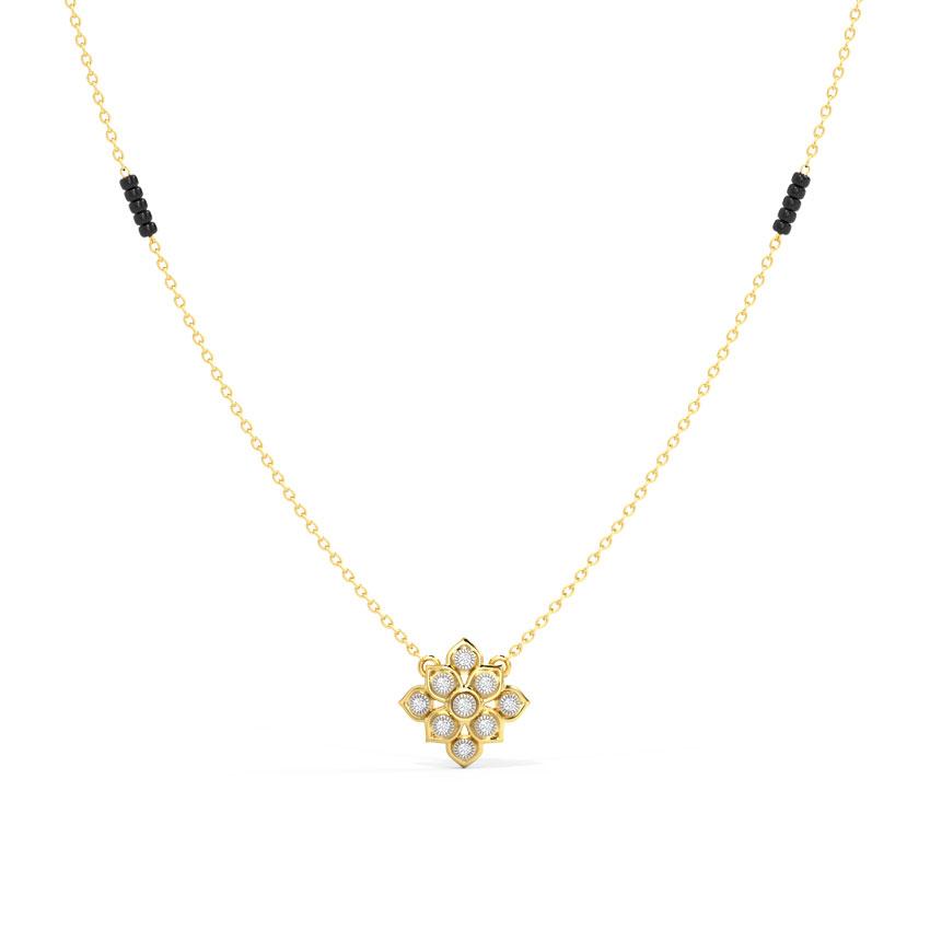 Diamond Mangalsutra 18 Karat Yellow Gold Ameena Diamond Mangalsutra