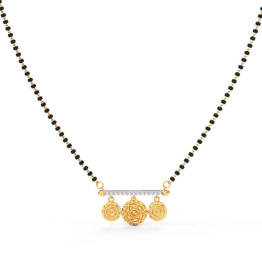 Diamond Mangalsutra 18 Karat Yellow Gold Sarah Coin Diamond Mangalsutra
