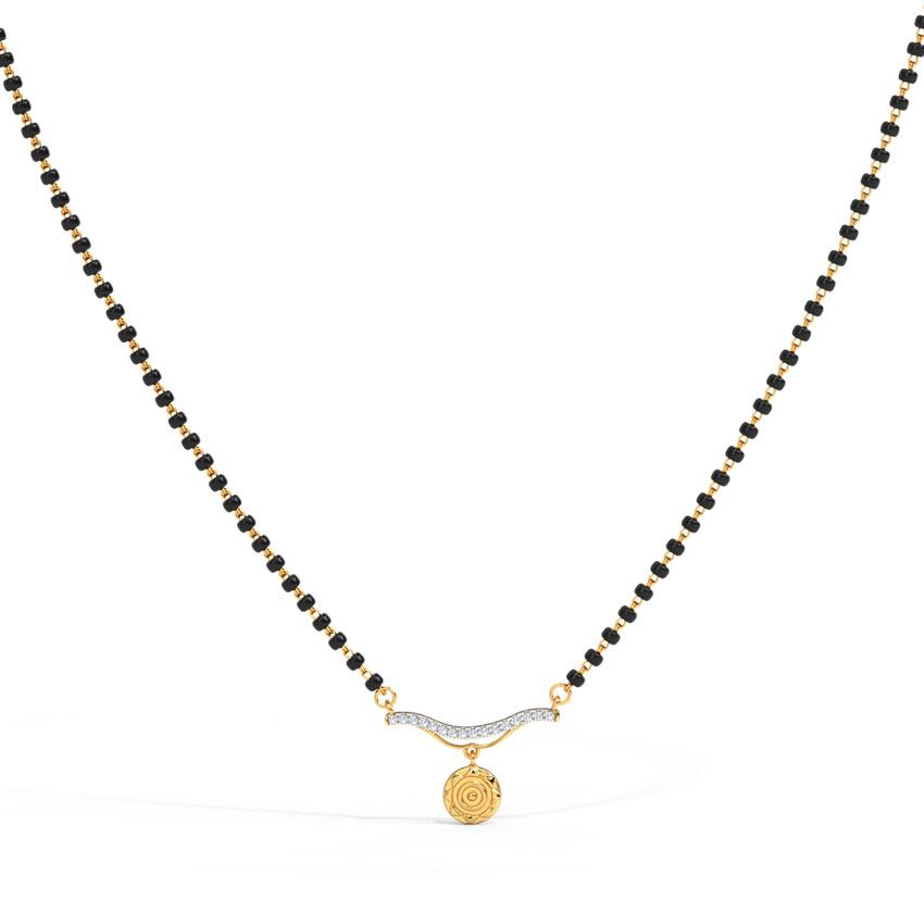 Diamond Mangalsutra 18 Karat Yellow Gold Anvesha Coin Diamond Mangalsutra