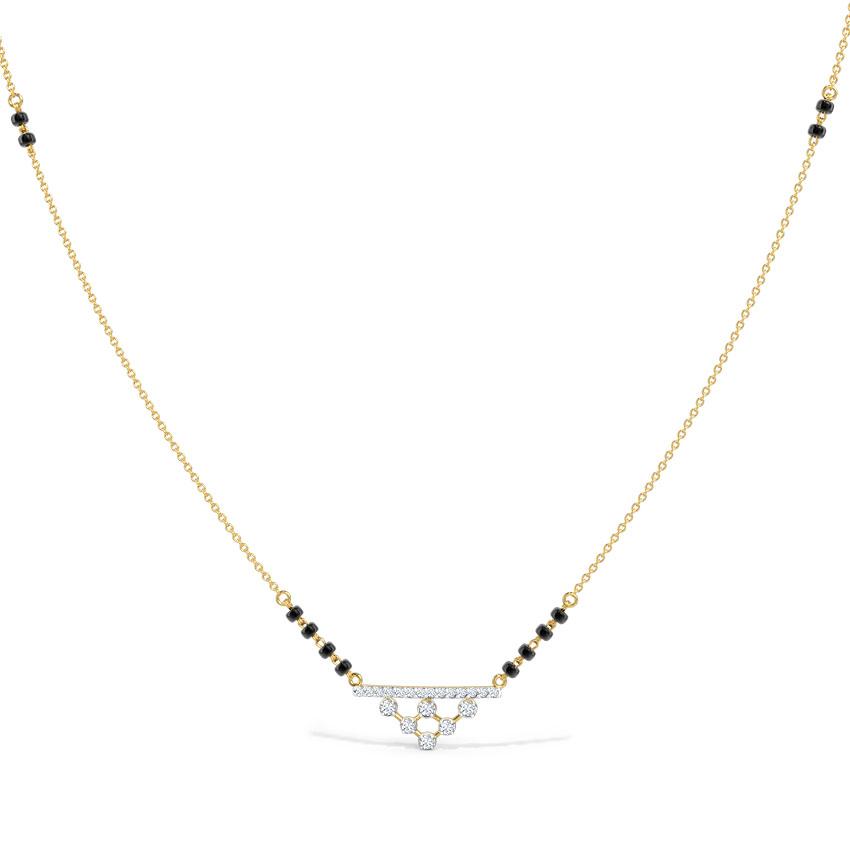 Diamond Mangalsutra 14 Karat Yellow Gold Anvi Diamond Mangalsutra