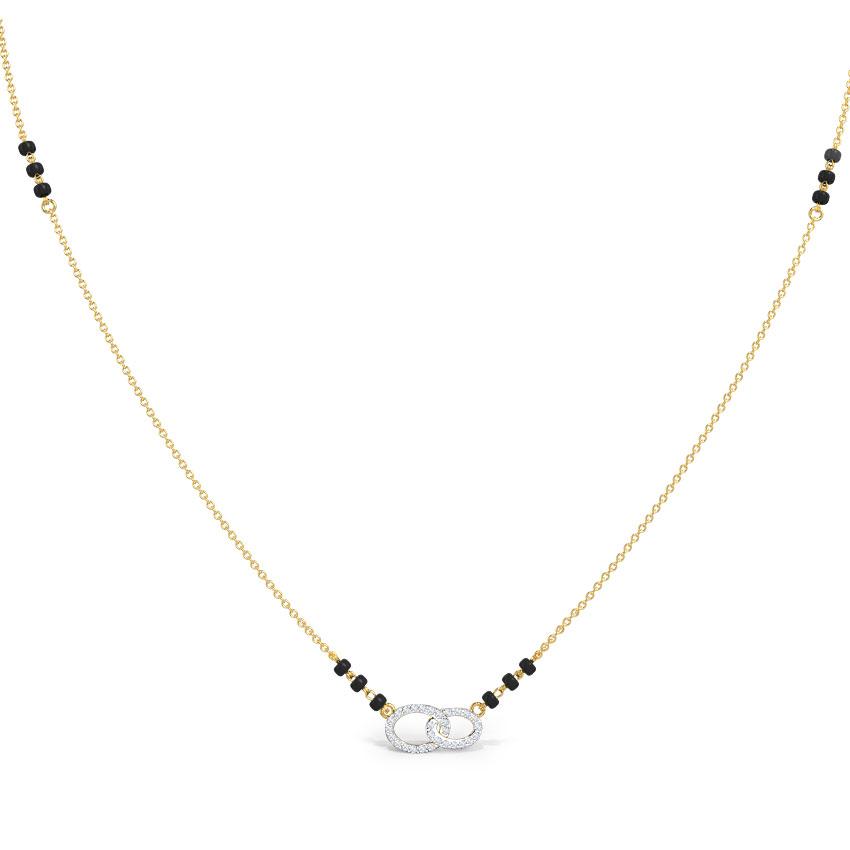 Diamond Mangalsutra 14 Karat Yellow Gold Netra Diamond Mangalsutra