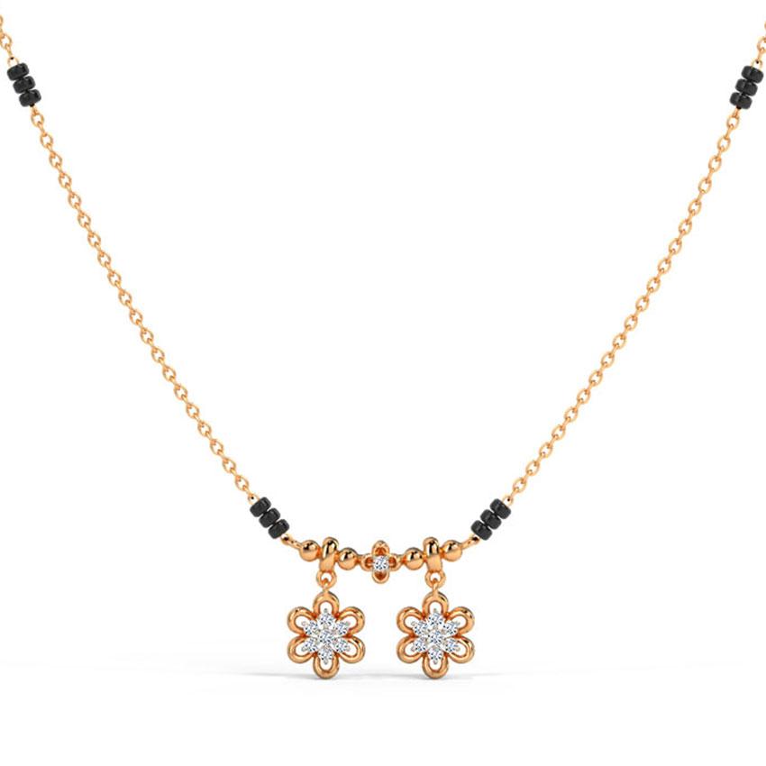 Diamond Mangalsutra 14 Karat Rose Gold Pankhuri Watimani Diamond Mangalsutra