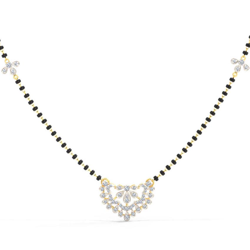 Diamond Mangalsutra 14 Karat Yellow Gold Saroop Diamond Mangalsutra
