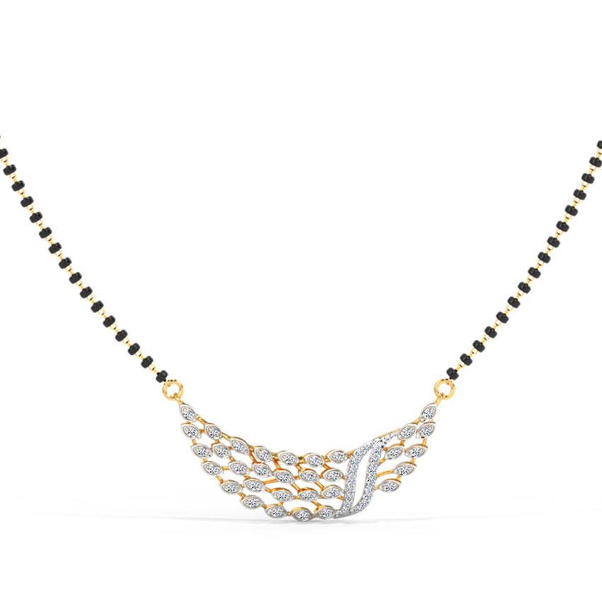 Diamond Mangalsutra 14 Karat Yellow Gold Mayur Diamond Mangalsutra