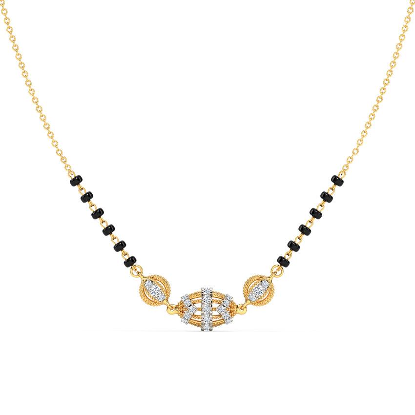 Diamond Mangalsutra 14 Karat Yellow Gold Shravya Diamond Mangalsutra