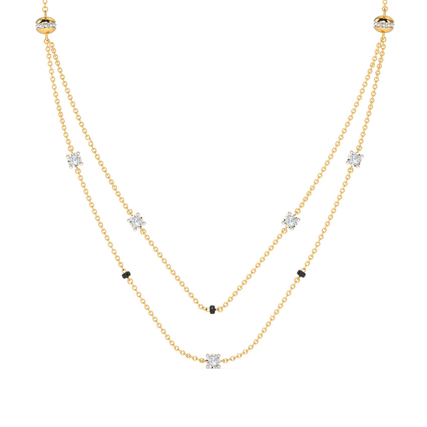 Diamond Mangalsutra 14 Karat Yellow Gold Dineta Diamond Mangalsutra