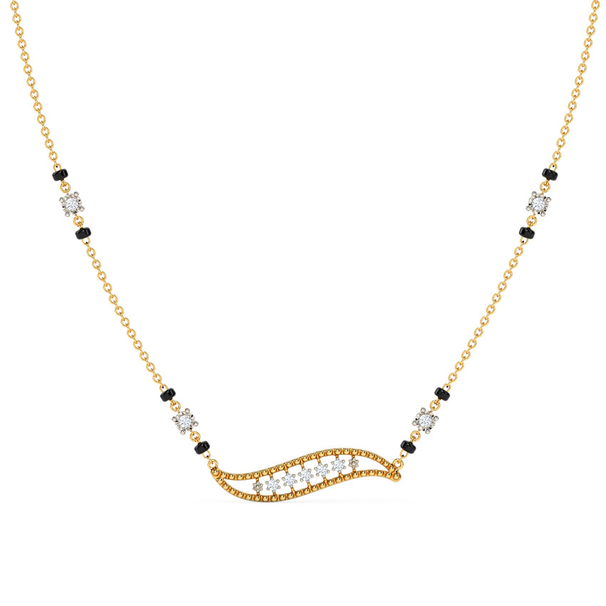 Diamond Mangalsutra 14 Karat Yellow Gold Pakhi Diamond Mangalsutra