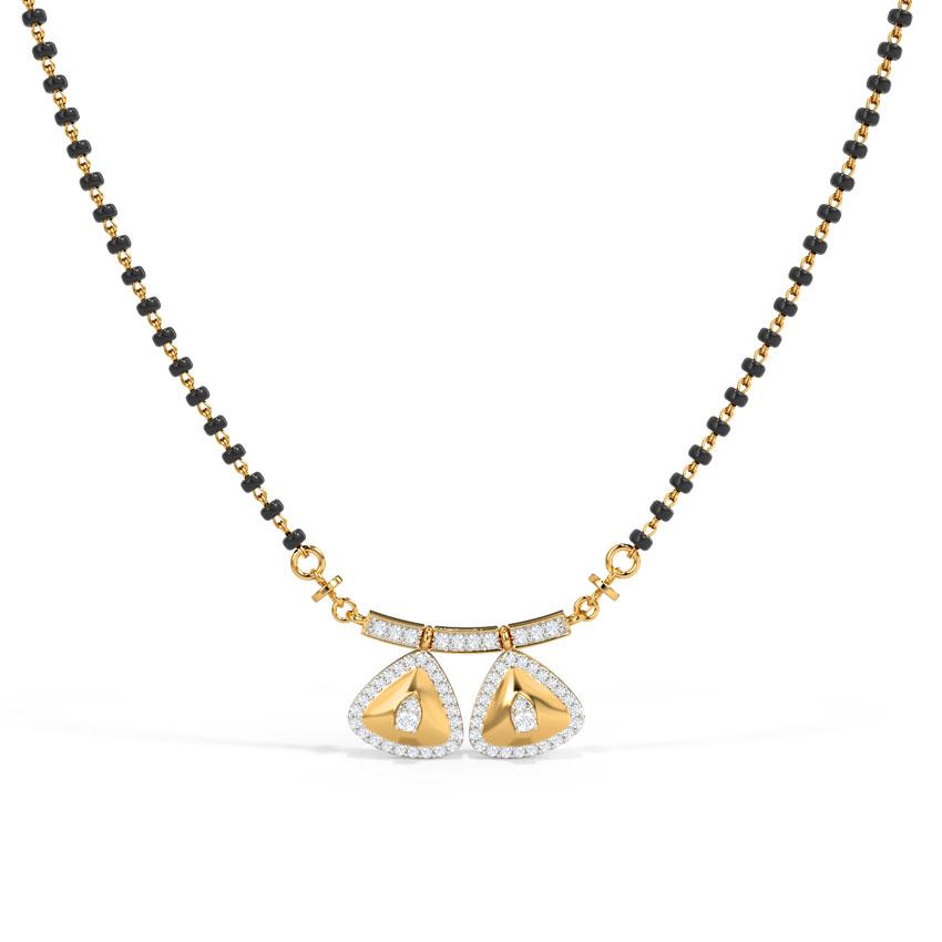 Diamond Mangalsutra 18 Karat Yellow Gold Shrishti Diamond Mangalsutra