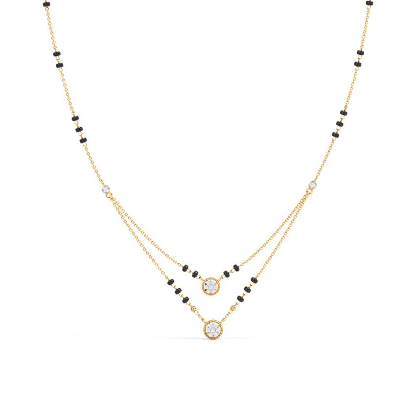 Diamond Mangalsutra 14 Karat Yellow Gold Advika Diamond Mangalsutra