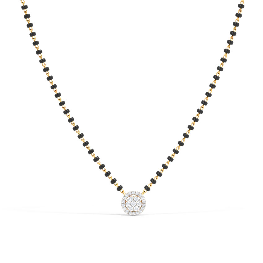 Diamond Mangalsutra 14 Karat Yellow Gold Dikshita Diamond Mangalsutra
