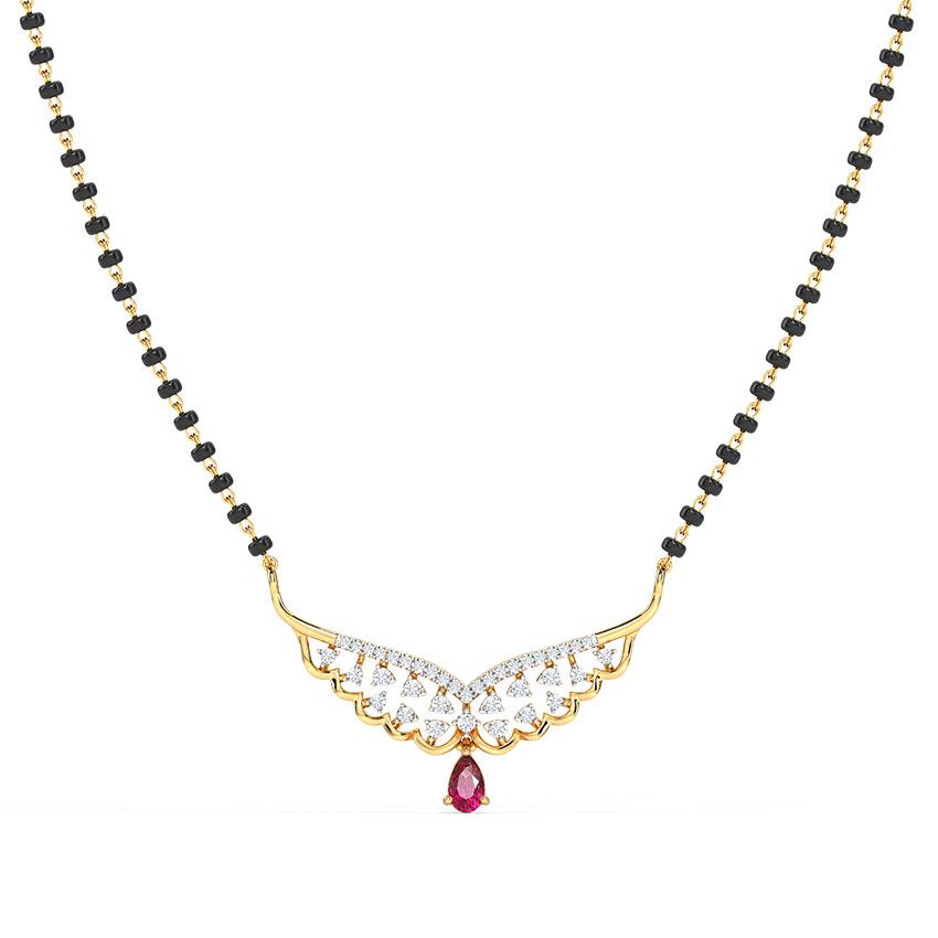 Diamond,Gemstone Mangalsutra 14 Karat Yellow Gold Aastha Gemstone Mangalsutra