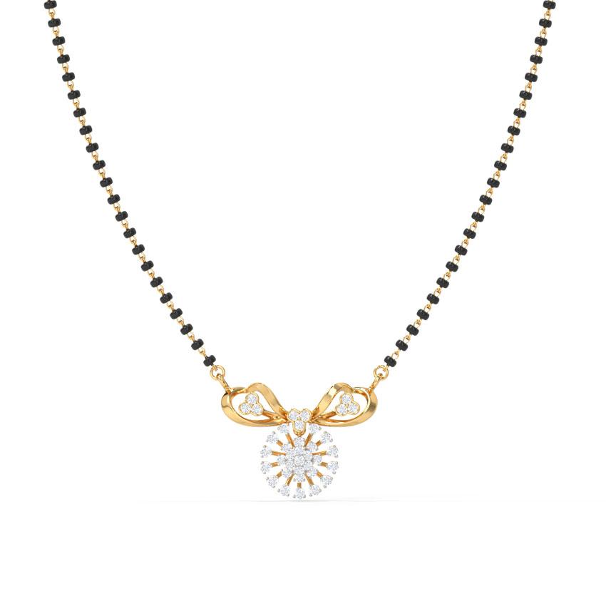 Diamond Mangalsutra 14 Karat Yellow Gold Hiya Diamond Mangalsutra