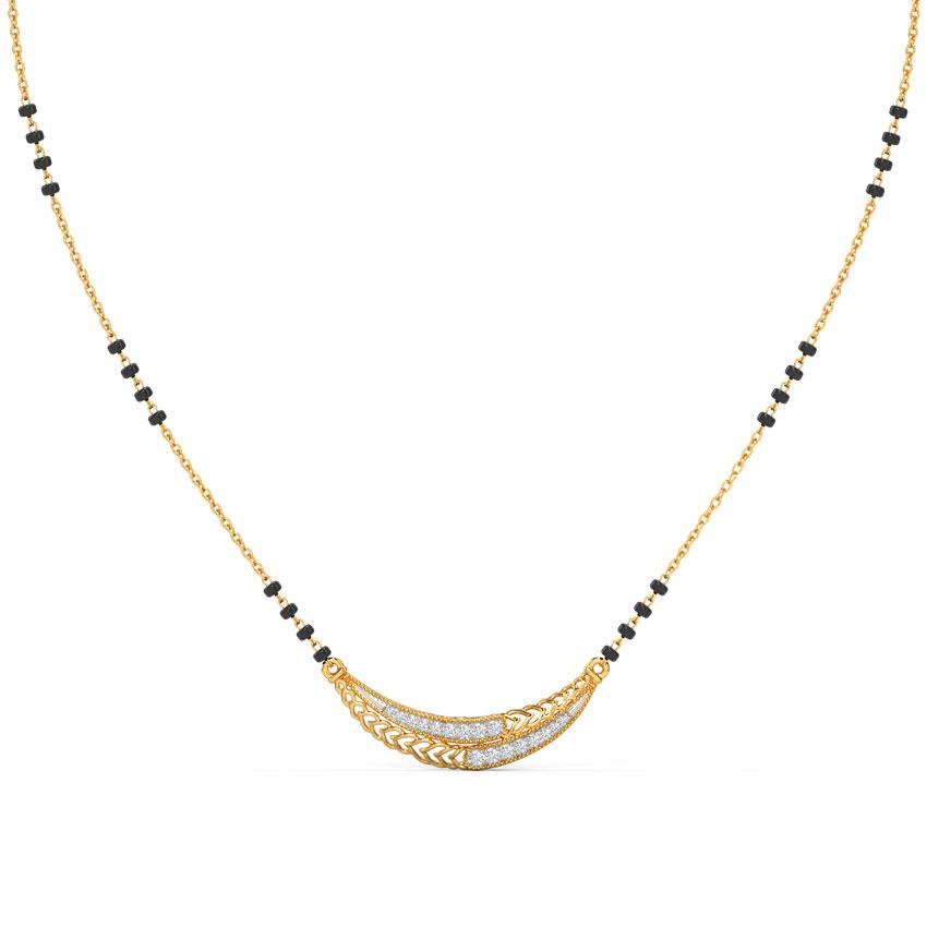 Diamond Mangalsutra 14 Karat Yellow Gold Ela Diamond Mangalsutra