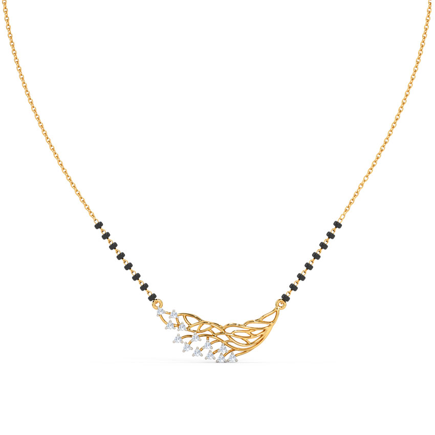 Diamond Mangalsutra 14 Karat Yellow Gold Aakriti Diamond Mangalsutra